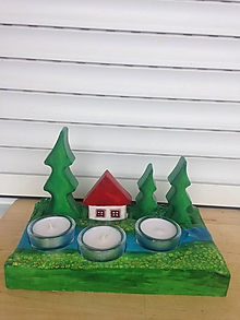Svietidlá a sviečky - Svietnik na čajové sviečky KRAJINKA - 9853169_