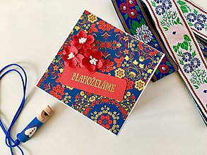 Papiernictvo - Modročervená folk svadobná krabička - 9854015_