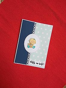 Papiernictvo - Pohľadnica k narodeniu dieťatka (Pohľadnica k narodeniu chlapčeka) - 9852634_