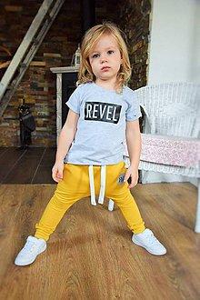 Detské oblečenie - Tepláky šafránová žltá - RVL - 9854245_