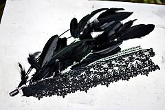 Ozdoby do vlasov - Čierný hair clip s perím a čipkou - 9852451_
