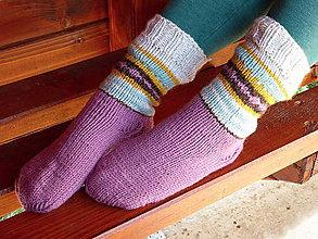 Obuv - sivo-fialové ponožky - 9853246_