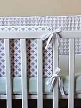 Textil - Sivo-biele hniezdo s bielym lemom a mašľami - 9851402_