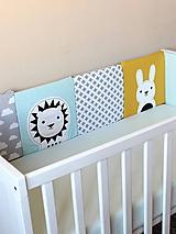 Textil - Sivo-žlto-mentolové hniezdo so zvieratkami - 9852128_