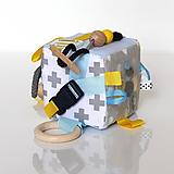 Hračky - Sivo-žlto-biela kocka level 2 - 9853331_