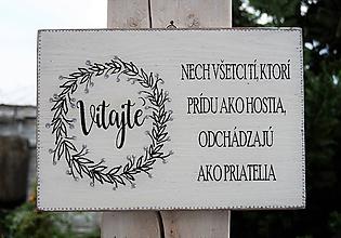 Tabuľky - Uvítacia drevená tabuľka - 9853673_
