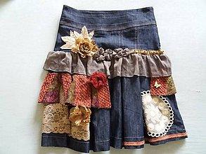 Sukne - riflová sukňa trochu inak - recyklácia - 9856027_