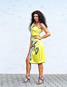 Šaty - Ručne maľované žlté šaty zo 169 na 129 - 9856437_
