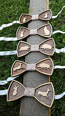 Doplnky - Drevené motýliky (poľovník) a rybár - 9857351_