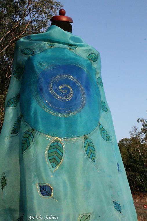 Hedvábný šátek Slunce s listy   jobka - SAShE.sk - Handmade Šatky 71a5ee03f6
