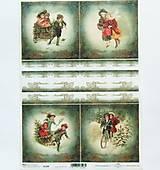 - Ryžový papier na decoupage -A4-R1308 - deti, vianoce, retro - 9854785_