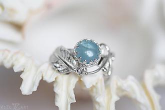 Prstene - Strieborný anjelský prsteň s akvamarínom - S Tebou - 9854695_