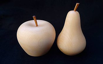 Dekorácie - drevené jablko a hruška  - 9855002_