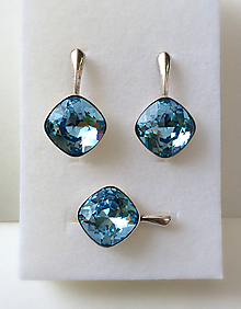 Náušnice - Náušnice prívesok  Akvamarínová modrá - 9855316_