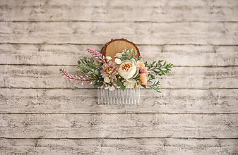 Ozdoby do vlasov - Bielo-ružový romantický kvetinový hrebienok do vlasov - 9857504_