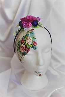 Ozdoby do vlasov - Kvetinová čelenka fialová