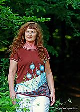 Topy, tričká, tielka - Dámske tričko batikované, maľované  LAMPÁŠIKY - 9855409_