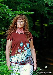 Tričká - Dámske tričko batikované, maľované  LAMPÁŠIKY - 9855409_