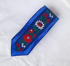 Doplnky - slim kravata folk (č.2. modrá s modrou krojovkou) - 9856928_