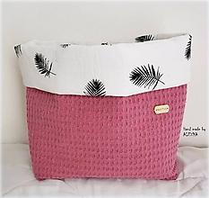 Textil - Košik na plienky z vafle bavlny v staroružovej farbe - 9856119_