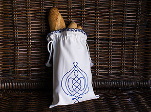 Úžitkový textil - Vyšívané vrecko na pečivo (22x32 cm) - 9856224_