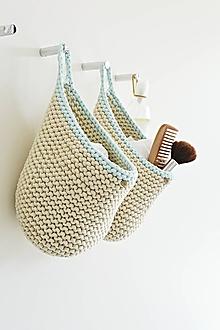 Košíky - Pletený košík s uškom - prírodná/mint - 9856780_