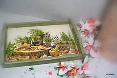 Nádoby - drevená tácka Bylinky - 9856730_