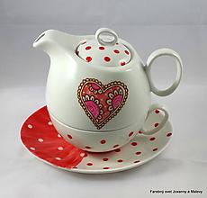 Nádoby - porcelánový čajník pre jedného Bodkovaný so srdiečkom - 9856634_
