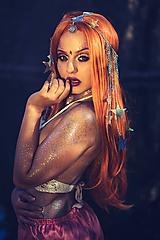 Ozdoby do vlasov - Zrkadlová retiazková čelenka s hviezdičkami z kolekcie Mermaid dream - 9854591_