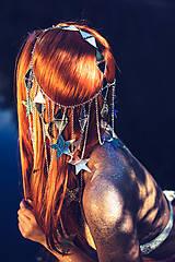 Ozdoby do vlasov - Zrkadlová retiazková čelenka s hviezdičkami z kolekcie Mermaid dream - 9854594_