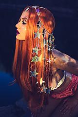 Ozdoby do vlasov - Zrkadlová retiazková čelenka s hviezdičkami z kolekcie Mermaid dream - 9854595_