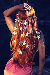 Ozdoby do vlasov - Zrkadlová retiazková čelenka s hviezdičkami z kolekcie Mermaid dream - 9854596_
