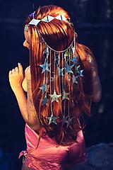 Ozdoby do vlasov - Zrkadlová retiazková čelenka s hviezdičkami z kolekcie Mermaid dream - 9854599_