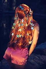 Ozdoby do vlasov - Zrkadlová retiazková čelenka s hviezdičkami z kolekcie Mermaid dream - 9854604_