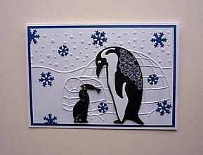 Papiernictvo - Tučniaky - vianočná pohľadnica - 9857433_