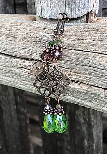 Náušnice - Romantické zelené kvapky - náušnice - 9856594_