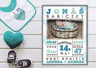 Obrazy - Plagát s údajmi o novorodencovi (Elektronická forma) - 9857591_