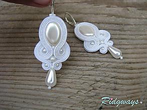 Náušnice - Ivory/White - náušnice...soutache - 9858777_