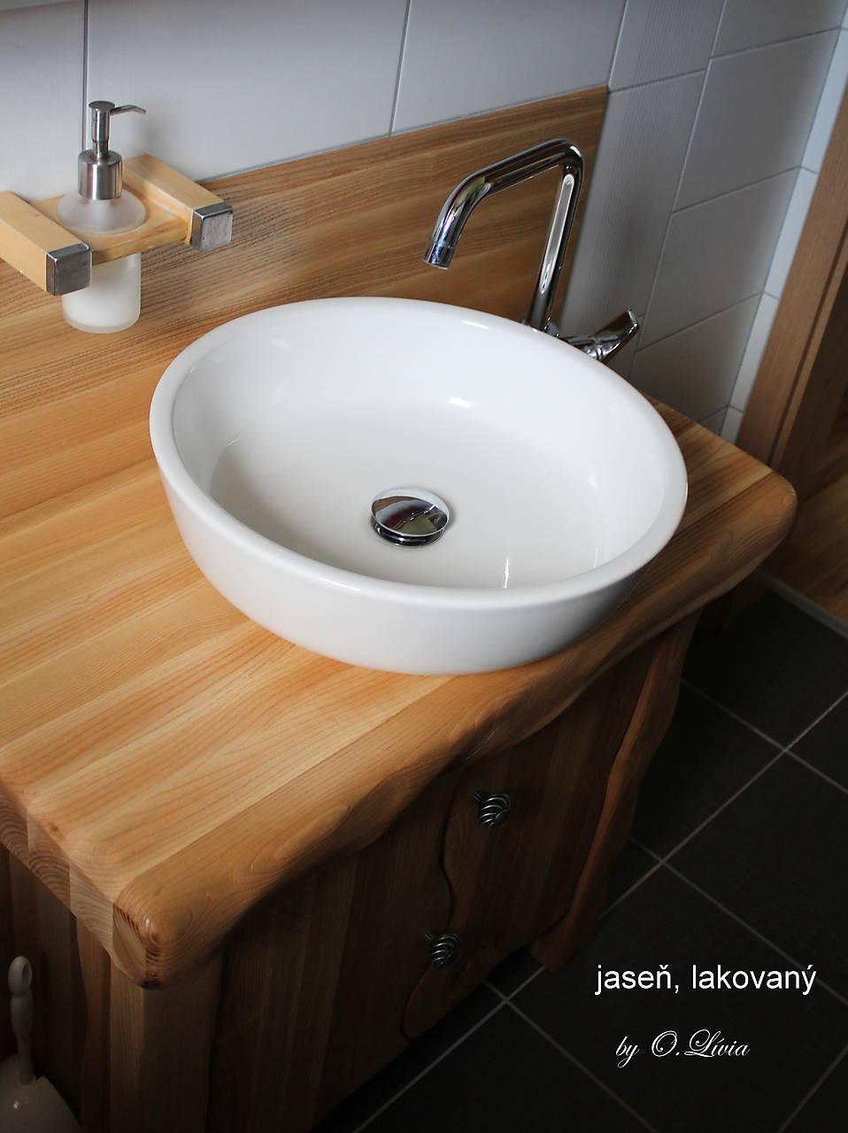 Stolík - skrinka pod umývadlo - NATURAL masív (JASEŇ)