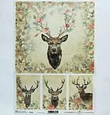 - Ryžový papier na decoupage -A4-R1311 - jeleň, ruža, vintage - 9858759_