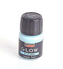 Farby-laky - Akrylová farba, 30 ml, svieti v tme (modrá) - 9858446_