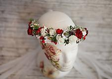 Ozdoby do vlasov - Folklórny bohato zdobený kvetinový venček - 9857590_