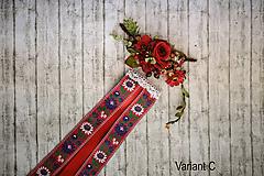 """Ozdoby do vlasov - Set ľudová spona s hrebienkom z kolekcie """"Na ľudovú nôtu"""" Červená varianta - 9860038_"""