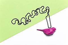 Náhrdelníky - Vtáčik prívesok ružový - 9858871_