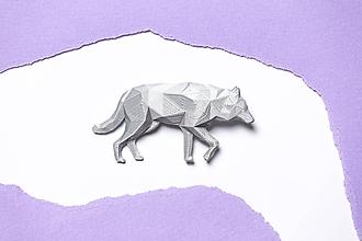 Odznaky/Brošne - Vlk strieborný - brošňa vytvorená na 3D tlačiarni - 9858806_