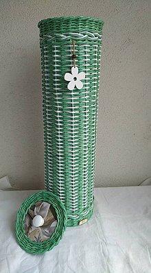 Košíky - Bielozeleny zasobnik na toaletny papier - 9858398_