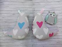 Hračky - Set pre dvojičky - vtáčiky hrkálky srdcia a bodky - 9860441_