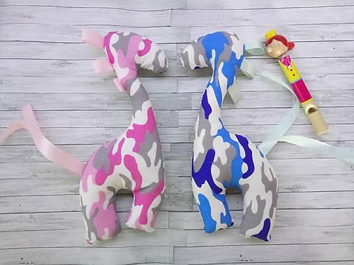 Set pre dvojičky - zirafky hrkálky pierka a maskáč