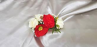 Ozdoby do vlasov - Hrebienok do vlasov z vlčích makov a ruží - 9858539_