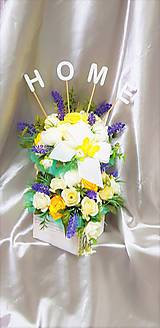 Dekorácie - Veľký kvetinový aranžmán v pastelových farbách s nápisom HOME - 9858631_
